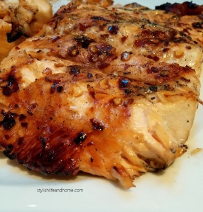 bbq salmon marinated in balsamic and red chillies