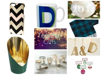 collage of teacher gifts for Christmas