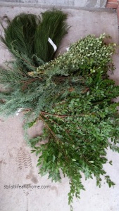 greenery assortment for winter white outdoor arrangement