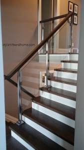 contemporary glass railing in foyer
