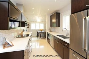 contemporary kitchen dark stained cherry cabinets
