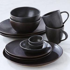 artisanal dinnerware collection matte black chaptes indigo