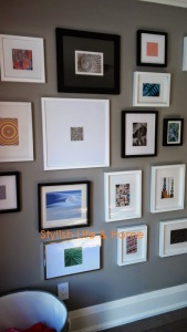 contemporary fractal gallery wall close up stylish trendy designing details decorating
