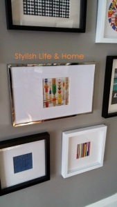 contemporary gallery style hanging family room mixed colour frames2