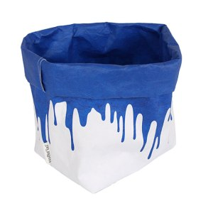 blue-small drips paper sacks plastica storage organization cobalt blue