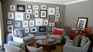 contemporary family room grey paint colour walnut furniture