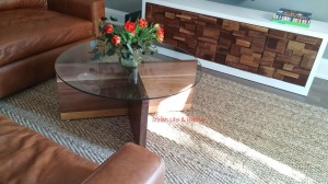 contemporary family room leather sectional mid century modern coffee table walnut media unit