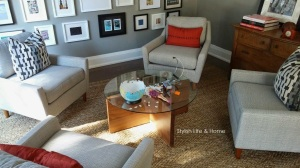 contemporary family room with kids