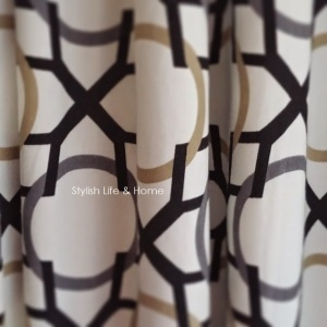 fabric drapery close up grey black caramel mid century modern vintage house home interior design