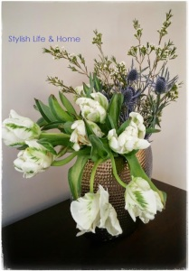 friday flowers parrot tulips wax blue thistle flowers contemporary floral design