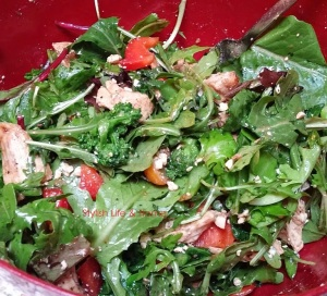 warm rapini salad with arugula and grilled chicken