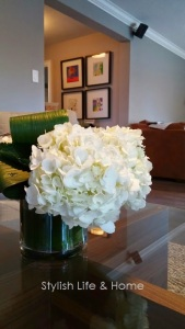 banana leaves wrapped in vase contemporary white hydrangea flower arrangement bouquet