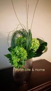 contemporary green bouquet hydrangea banana leaves diy3