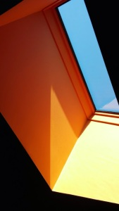 modern photography skylight kitchen orange