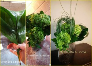 simple contemporary green flower arrangement diy hydrangea banana leaf
