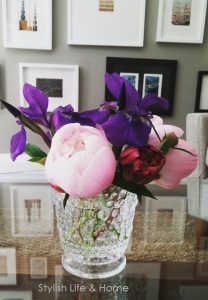 spring floral arrangement fresh blooms cut from garden centerpiece contemporary peonies irises pink purple